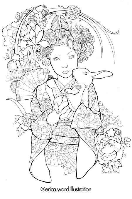 Japanese Coloring Books For Adults Coloring Books Coloring Book Art Colorful Drawings
