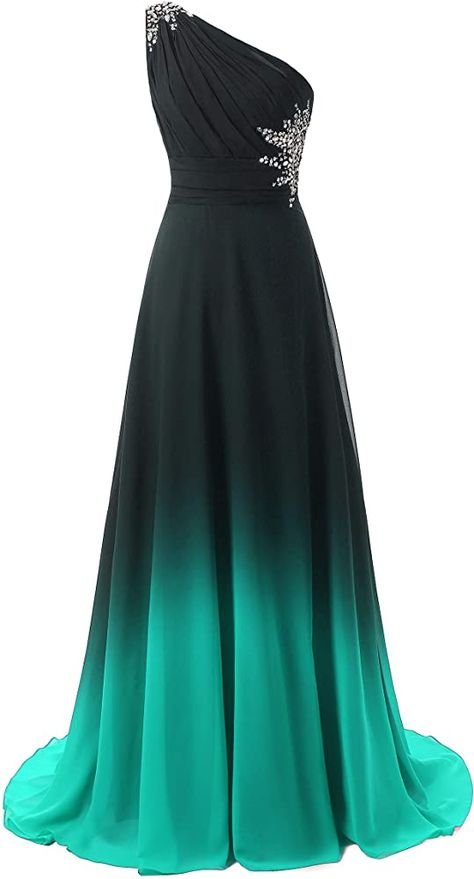 New ANGELA One Shoulder Ombre Long Evening Prom Dresses Chiffon Wedding Party Gowns online shopping - Topofferideas Ombre Prom Dresses, Pretty Prom Dresses, Ball Dresses, Homecoming Dresses, Nice Dresses, Ball Gowns, Ombre Gown, Chiffon Evening Dresses, Long Dresses
