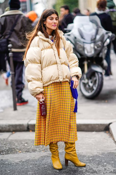 Match a Slouchy Pair of Boots With a Plaid Skirt - Winter Outfits