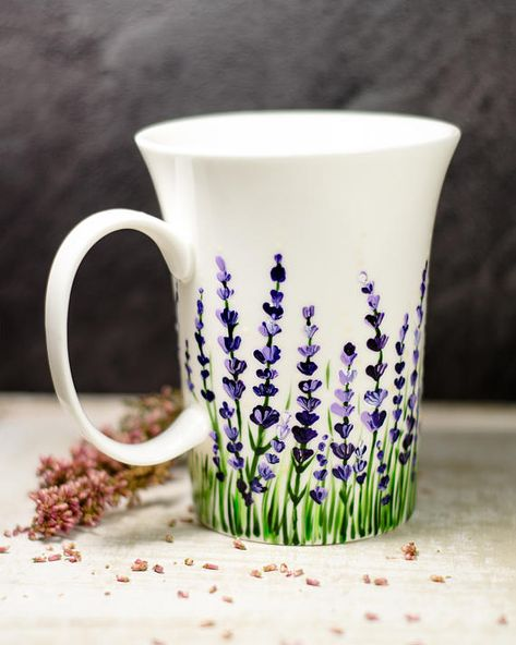 Lavender Coffee Mug Floral Ceramic Cup, Personalized Mothers Day Gift #ceramicmugs Do you like the idea of enjoying your morning cup of tea amongst the flowers? If your answer is yes be sure to check this amazing hand painted lavender coffee mug. I painted these gentle lavender flowers on hight quality english porcelain mug because you deserve the best.  This mug can be personalized on the opposite side for free.  Size:  Height 9 cm / 3,5 inch About 320 ml / 11 oz  If the mug needs any persona