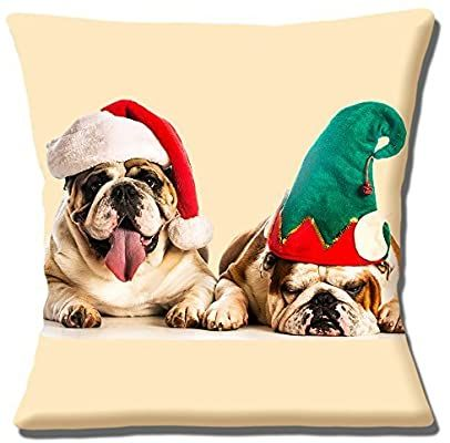Dog Wearing Santa Hat Pillow Covers