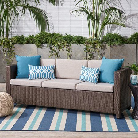 Palmetto Outdoor Wicker 3 Seater Sofa With Cushions Grey Brown Walmart Com Outdoor Sofa Lovely Sofas Outdoor Wicker