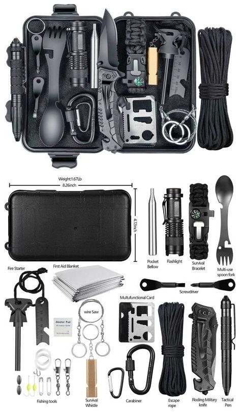 Emergency Survival Kit, Survival Life Hacks, Survival Supplies, Survival Tools, Camping Survival, Outdoor Survival, Survival Prepping, Camping Gear, Cool Survival Gear