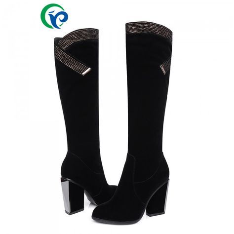 a46c5321689a Pas cher Femme hiver Flock bottes taille 34 ~ 39 noir longues bottes femmes  de Style étrange talons hauts femmes bottes en cuir véritable genou haute  ...