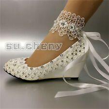 su.cheny Heels wedges Lace white ivory rhinestone Wedding Bridal pumps shoes
