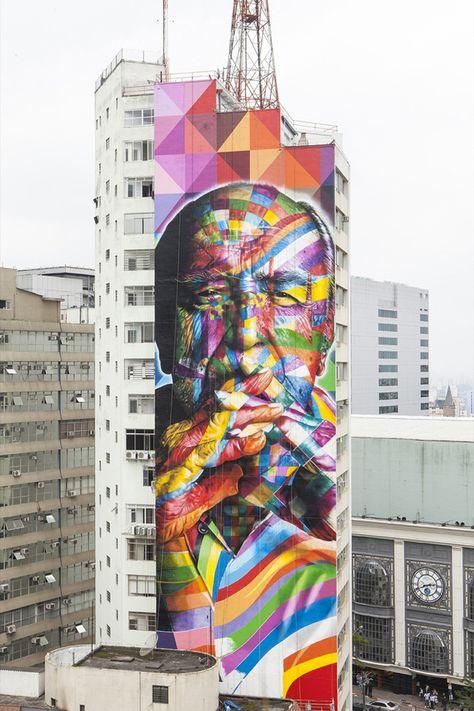Eduardo Kobra's Mural tribute to architect Oscar Niemeyer in São Paulo, Brazil