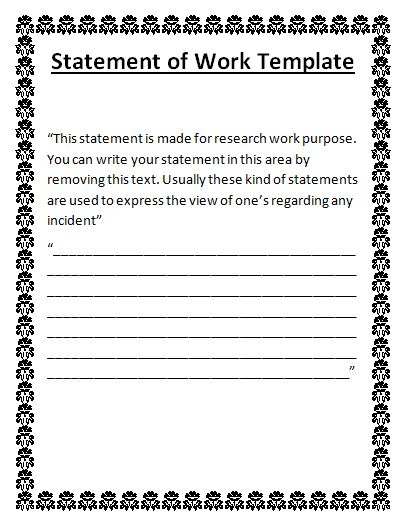 Pin by R A on Wordstemplatesorg Pinterest - statement of work template