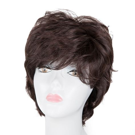 Cosplay Wig Fei-show Synthetic Heat Resistant Fiber Wavy Sky Blue Inclined Bangs Hair Student Hairpiece Short Salon Party Peruca Hair Extensions & Wigs