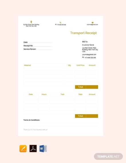 Free Transport Receipt Template Pdf Word Doc Apple Mac Pages Google Docs Invoice Format In Excel Financial Apps Free Receipt Template