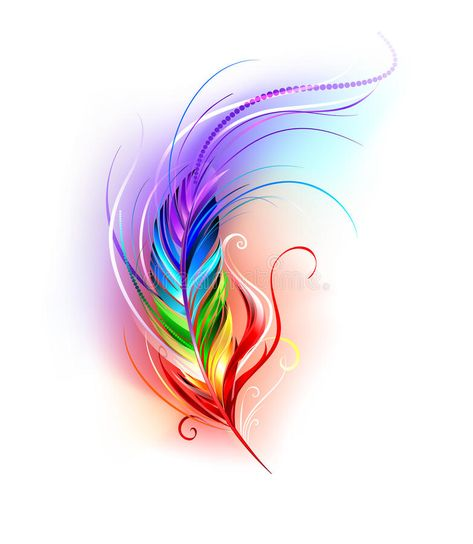 Rainbow feather on white stock vector. Illustration of ...