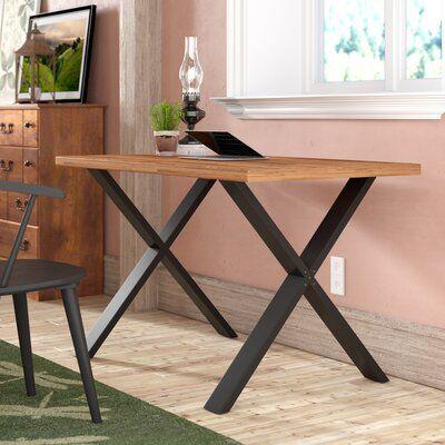 August Grove Bridgwater Solid Wood Desk In 2020 Solid Wood Desk Wood Desk Wood Writing Desk