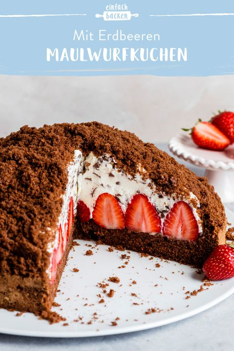 Dieser Klassiker schmeckt auch mit Erdbeeren unglaublich! #einfachbacken #maulwurfkuchenmiterdbeeren #erdbeeren #maulwurfkuchen #creme #erdbeere