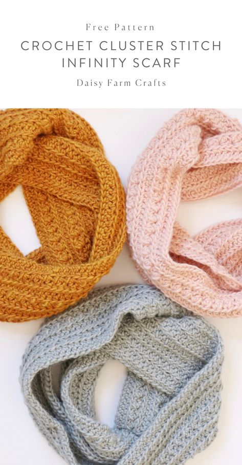 Most recent Absolutely Free Crochet Patterns scarf Strategies Free Pattern – Crochet Cluster Stitch Infinity Scarf Beau Crochet, Bonnet Crochet, Crochet Beanie, Crochet Shawl, Crochet Stitches, Knit Crochet, Crochet Infinity Scarf Free Pattern, Infinity Scarf Patterns, Knit Cowl