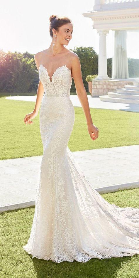 24 Gorgeous Sweetheart Wedding Dresses For Brides ❤  sweetheart wedding dresses sheath strapless neckline sexy beach rosa clara #weddingforward #wedding #bride