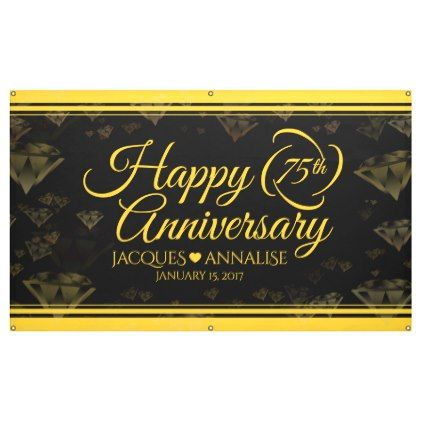 Elegant 75th Diamond And Gold Wedding Anniversary Banner Zazzle Com With Images Anniversary Banner Gold Wedding Anniversary Anniversary