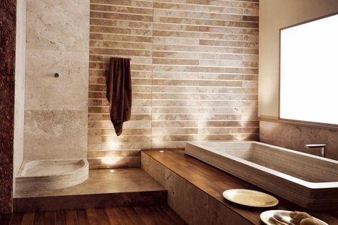 Salle de bain travertin : la beauté de la pierre de Tivoli ...