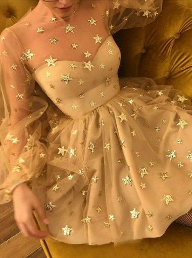Long Sleeve Illusion Sparkly Tulle Homecoming Dress,Nude Homecoming Dress with Sleeves