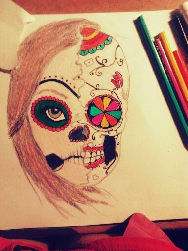 Calavera Mexicana Con Colores Dibujo Lápiz Y Papel Arte