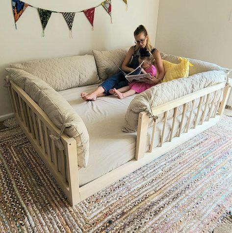 Floor Bed Frame, Raised Bed Frame, Floor Framing, Raised Beds, Toddler Floor Bed, Baby Floor Bed, Toddler Rooms, Maria Montessori, Boy Room