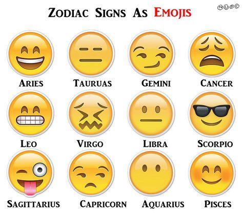 If Zodiac Signs Were Emoji -- pretty funny! Taurus spelled weird, tho...
