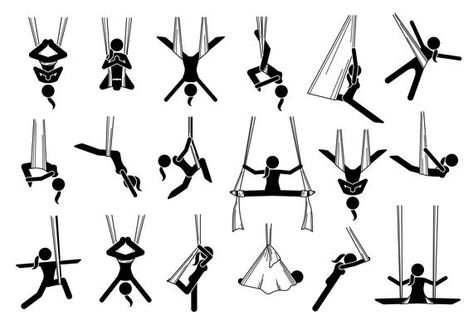 Illustration of Aerial yoga icons. Illustrations depict a woman performing anti gravity yoga exercise in different poses and positions with a hammock. The techniques are for beginners and experts. vector art, clipart and stock vectors. Aerial Yoga Hammock, Aerial Dance, Aerial Silks, Aerial Acrobatics, Aerial Hoop, Aerial Arts, Pilates Workout, Pilates Reformer, Body Workouts