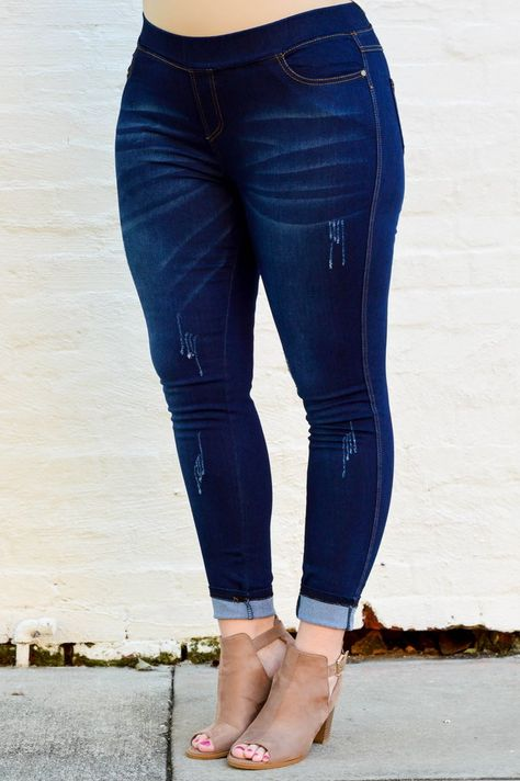 Chic Soul - All The Answers Jeggings, Dark Wash