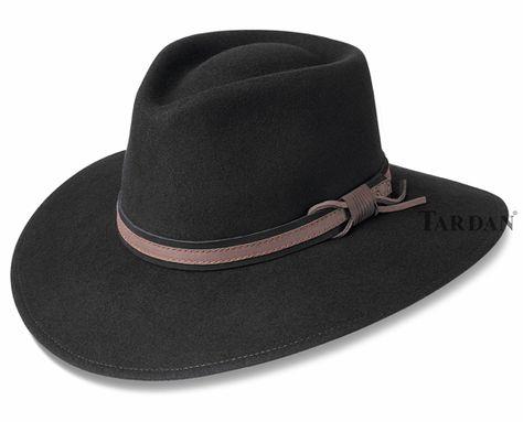 Sombrero de vaquero de cuero de estilo australiano marr/ón occidental con sombrero de Bush de sombras negras