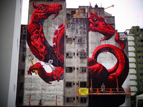 Lean Frizzera and Spok collaborate on a new mural in Buenos Aires, Argentina