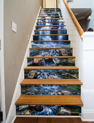 3d River Stones Stair Risers Decoration Photo Mural Vinyl Decal Wallpaper Au Ebay Stair Risers Stair Riser Decals Stairs