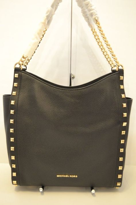 5b38b440f727 NWT MICHAEL KORS NEWBURY LEATHER STUDDED CHAIN SHOULDER TOTE in BLACK  #fashion #clothing #shoes #accessories #womensbagshandbags ...