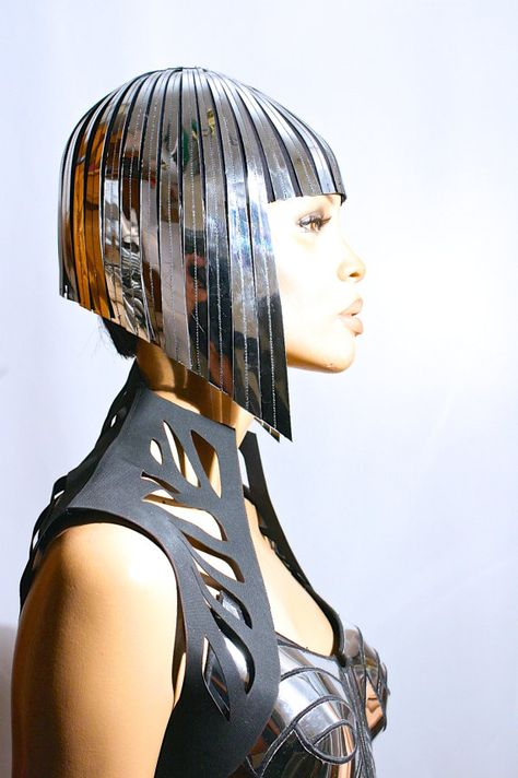 Cleopatra metallic wig hairdress in chrome or gold egyptian goddess wig bob hairpiece headpiece metal futuristic