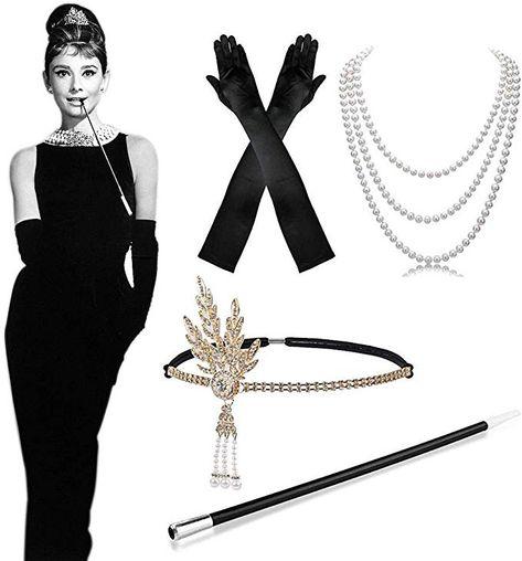 20er Charleston Kostüm Set Kopfschmuck Halskette Zigarettenspitze 30er Flapper