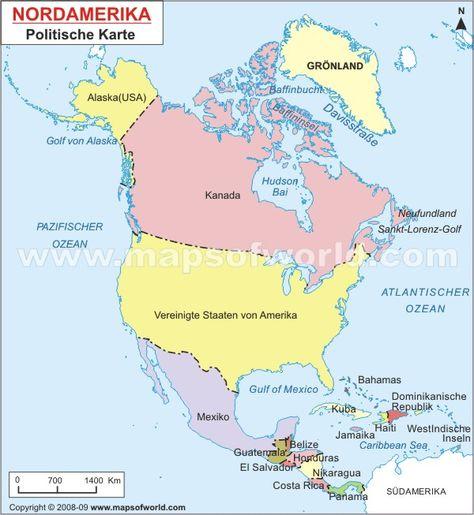 Nordamerika Karte Nordamerika Amerika Alaska Usa