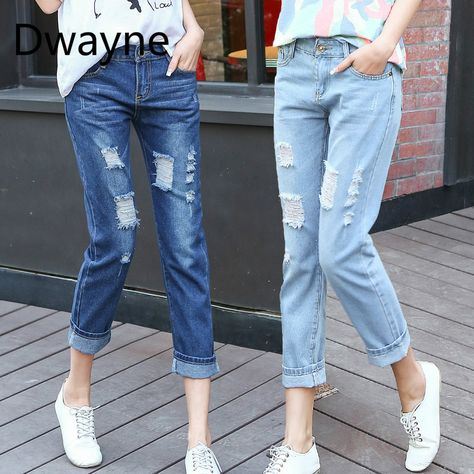 8c5e5cafd85 Spring New Women Jeans Large Size Skinny Holes Boyfriend Waist Blue Ripped  Hole Nine Points Jeans