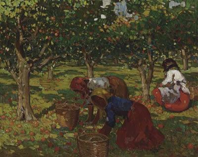 """'The Orange Harvest' by Alberto Pla Y Rubio (1867 - 1937). 'Glass Pieces''s third movement is dominated by folk motifs which choreographer Robbins characterized as resembling the harvest. """"He would say things like, 'Gather the apples and oranges.' The women should look like they're gathering and harvesting, """"says SFB Ballet Master Betsy Erickson."""
