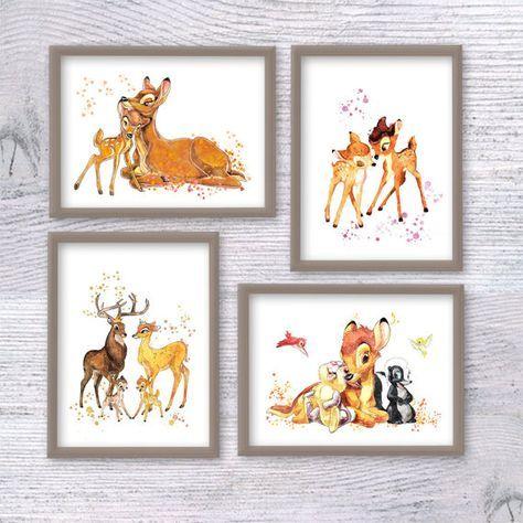 Bambi print Set of 4 Bambi poster Disney wall decor woodland watercolor illustration Nursery room decor Kids room wall art woodland art - Disney wall decor, Kid room decor, -