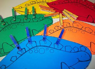 dinosaur activity: fine motor skills and color to letter recongnition