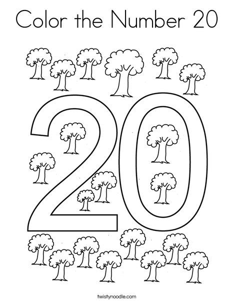 Color The Number 20 Coloring Page Twisty Noodle Coloring Pages
