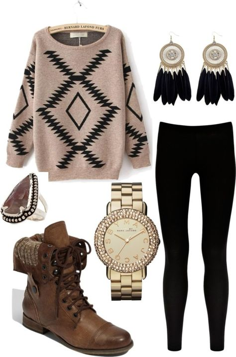 DIY Style for Creative Fashionistas These 15 winter fashion ideas will inspire your cozy winter wardrobe. Get tips on pairing sweaters with jeans and more with this winter style ideas.: Tribal Style in the Cold Chambray Outfit, Outfits Hipster, Casual Outfits, Cute Outfits, Polyvore Outfits Casual, Polyvore Fashion, Dress Outfits, Dress Shoes, Fall Winter Outfits
