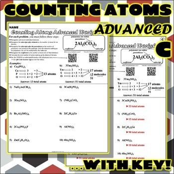 Worksheet Counting Atoms Advanced Version C Counting Atoms Counting Atoms Worksheet Middle School Science Resources Counting atoms worksheet answers