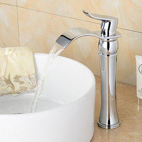 HUSHUN Modern Waterfall Popular Grifo del lavabo del ba/ño Grifo monomando de un solo orificio Grifo monomando Lavabo s/ólido Mono Lavabo Grifos para lavabo@Oro cepillado