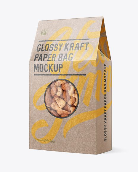 Download Glossy Kraft Paper Bag W Window Mockup Halfside View In Bag Sack Mockups On Yellow Images Object Mockups Mockup Free Psd Mockup Free Download Psd Mockup Template
