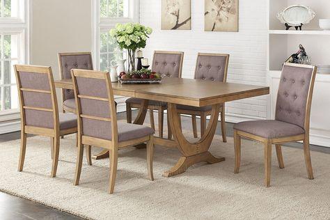 Light Natural Wood 7 Pc Rectangular Dining Set Inch Leaf Trestle