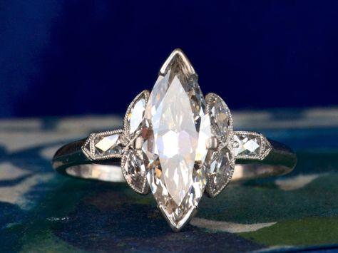 1920s Art Deco Marquise Diamond Ring #aromabotanical
