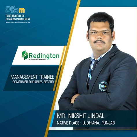 Extending a warm and hearty wish, PIBM congratulates Nikshit Jindal for getting placed at Redington India as a Management Trainee. We admire his desire towards leading a successful career and wish him all the best for his future endeavors. #PIBMPlacements #FinalPlacements #MBAPlacements #PGDMPlacements #MastersWithPIBM #PIBMPune