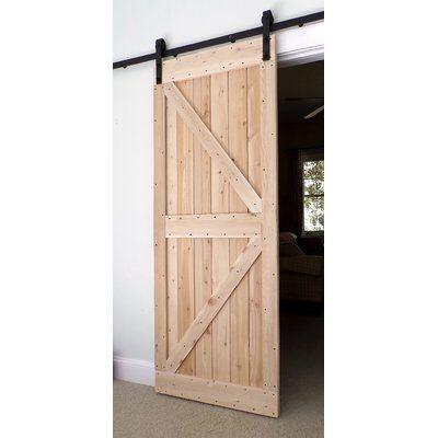 Barharborcedar Wood Finish Barn Door Without Installation Hardware Kit Door Size 82 H X 36 W X 1 5 D Wood Barn Door Wood Doors Interior Barn Style Doors