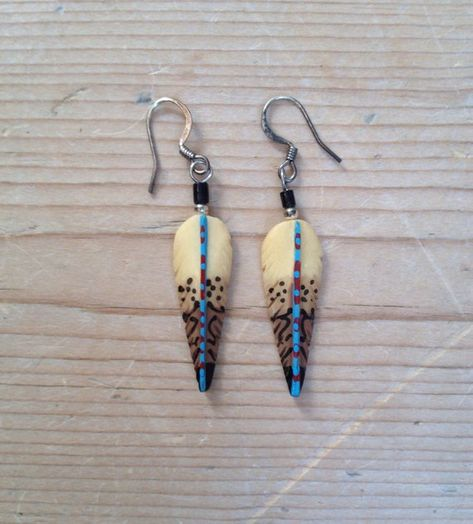 Native American Hand Carved Bone Feather Hook Style Dangle Earrings Bone Carving Feather Feather Earrings