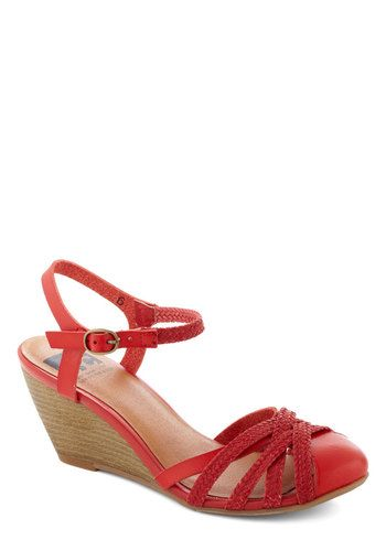 Don't Worry, Be Strappy Wedge in Orchard by BC Shoes - Red, Solid, Braided, Graduation, Wedge, Mid, Faux Leather, Cutout, Wedding, Vintage Inspired, Summer, Variation $70