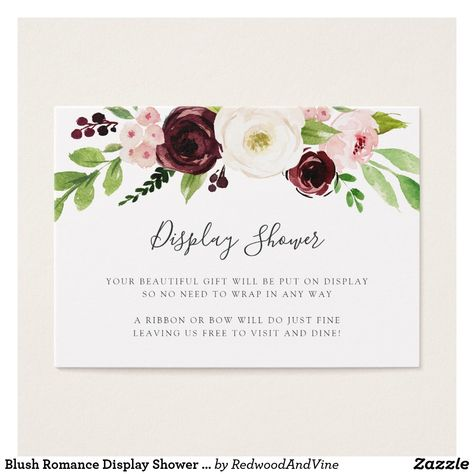 e628276da545 Blush Romance Display Shower Card Slip these petite cards into your baby  shower or bridal shower invitations when requesting that guests bring their  gifts ...