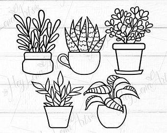 Hanging Plants Svg Hand Drawn Clipart Pots Terrarium Cactus Succulents Spring Garden Svg Silhouette Cameo Cricut Digital Plant Doodle Digital Clip Art Flower Svg